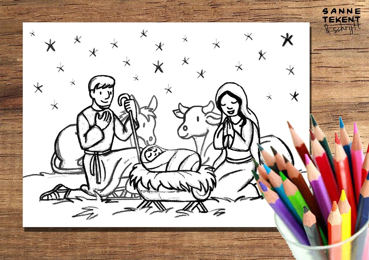 Kleurplaat Kerststal Sanne Tekent Schrijft